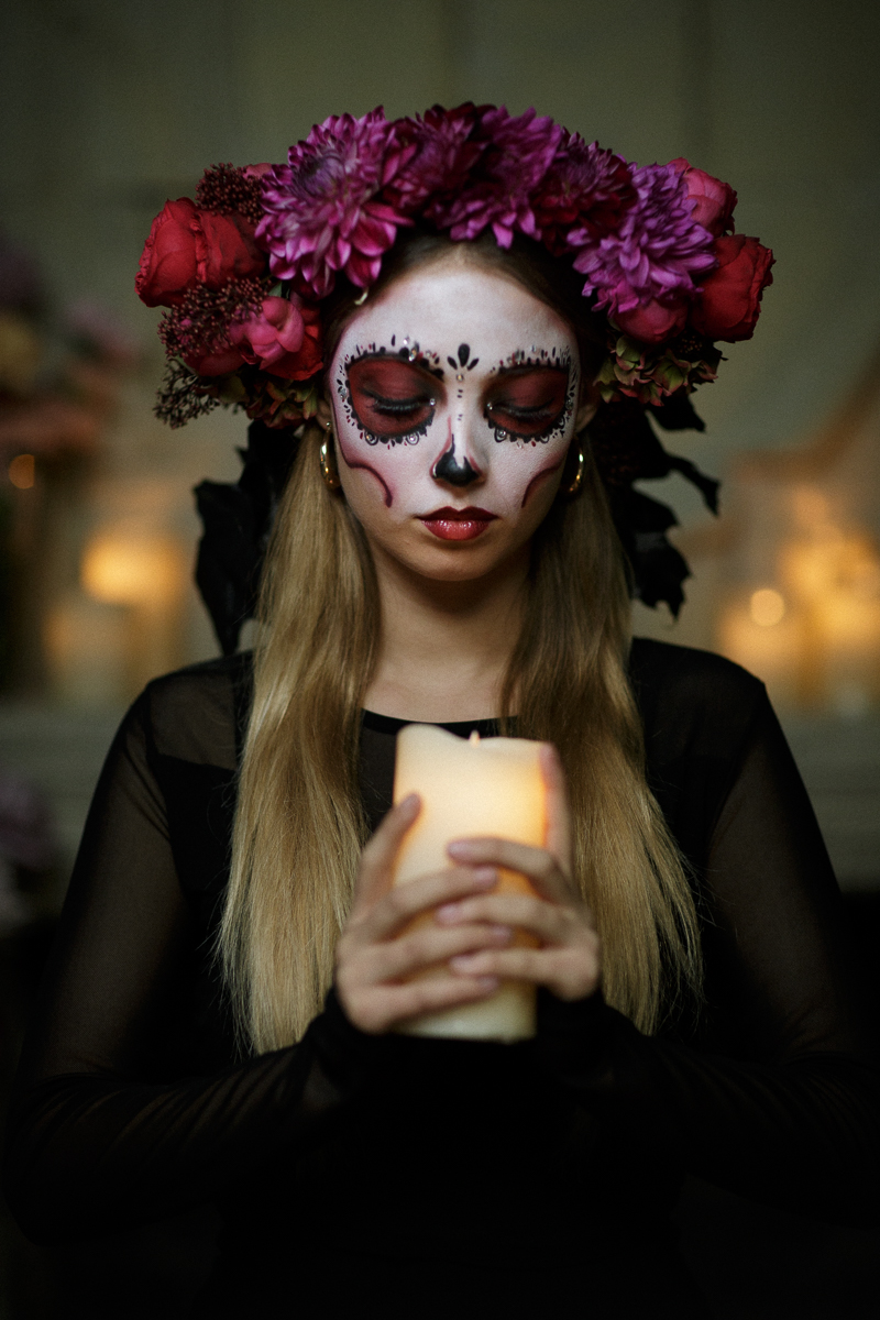 Create your own dia de los muertos flower crown funny how flowers this crown was created using chrysanthemum dahlia piano roses skimmia black painted beech leaves izmirmasajfo